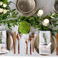 table setting for holiday entertaining